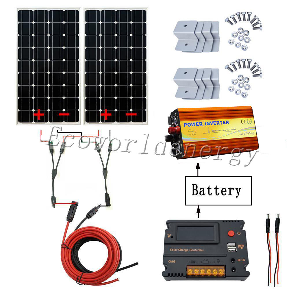 200W Off Grid System Kit 2x 100W Mono Solar Panel& 1KW Inverter 20A Controller