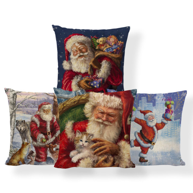 70cf639a9a Santa Claus Candy Canes Cushion Covers Christmas Pillow Case Farmhouse  Style Floor Decorator Throw Pillow Case Large Polyester