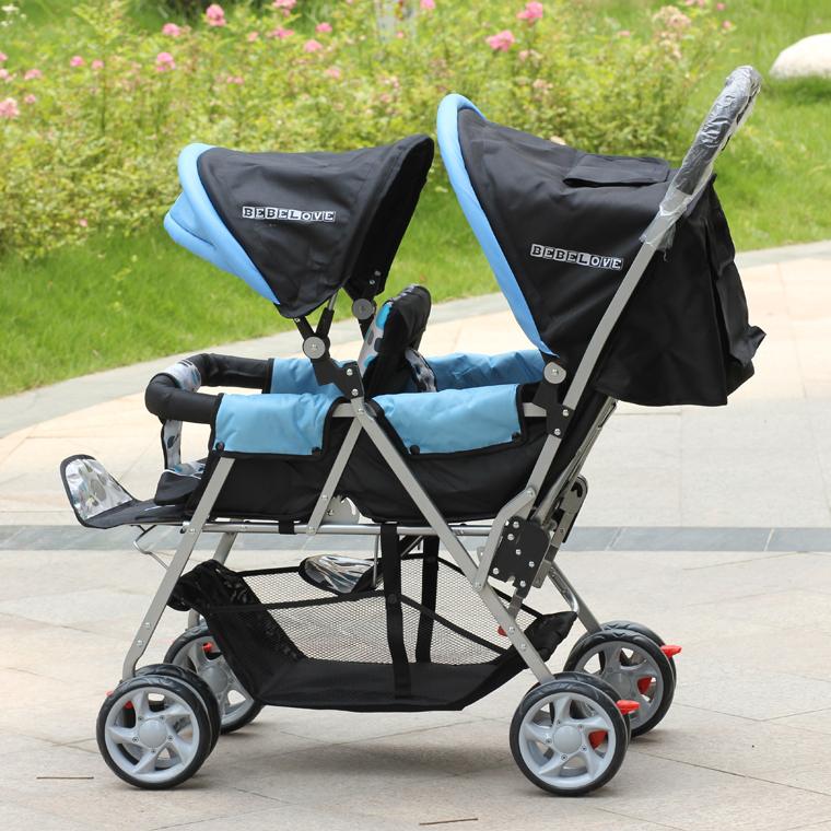 Portable And Safety Child Twins Strollers Pushchair For