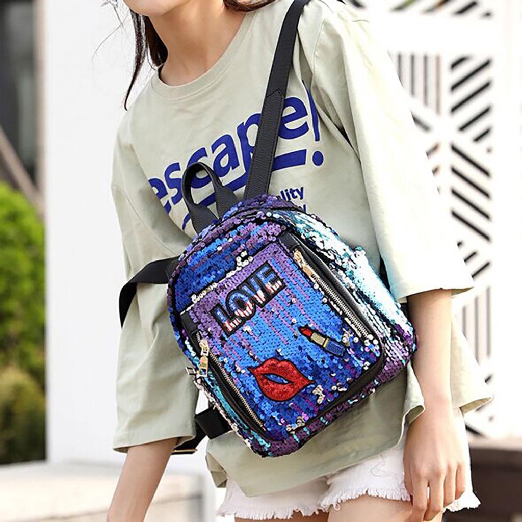 Fashion Girl Sequins letter print School Bag Backpack Travel Shoulder Bag Wild Leisure Bag Size 28cm(H) X 23cm(W) X 16cm(T) 10HFashion Girl Sequins letter print School Bag Backpack Travel Shoulder Bag Wild Leisure Bag Size 28cm(H) X 23cm(W) X 16cm(T) 10H
