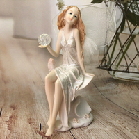 Flower Fairy garden Figurines Resin Angel sculpture Ornaments Beautiful Girl Home Decor Wedding Gifts hold crystal ball