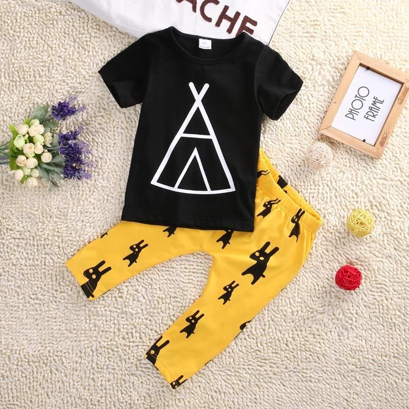 Newborn Baby Boys Kids Casual Cartoon Tent T-shirt Tops+Long Pants Outfits Clothes Sets 0-5T