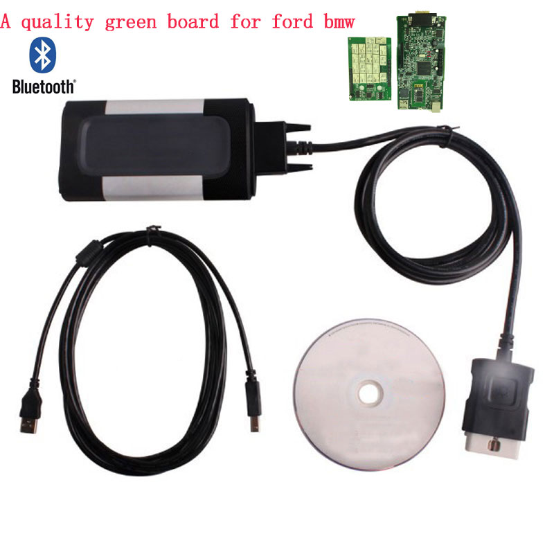 New Green board quality A 2014 R2 Keygen For automotive CDP Pro Plus with bluetooth OBD2
