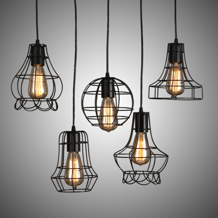 Vintage Iron Pendant Lamp Industrial Loft Retro Droplight Bar Cafe Bedroom Restaurant E27 90-240V American modern Country Style loft retro tree glaze glass pendant lamp lights cafe bar art children s bedroom balcony hall shop aisle droplight decoration