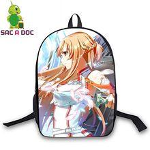 Cool Sword Art Online Backpack Anime SAO Kirito Asuna Printing School Bags  for Teenagers Boys Girls 41a628e04e4ed