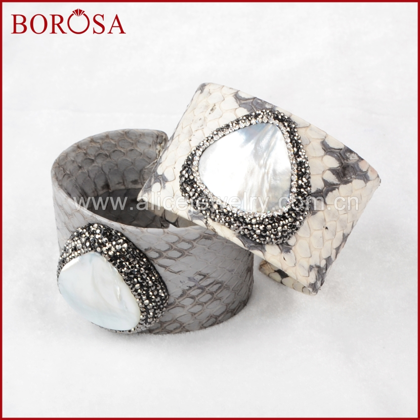 BOROSA new snakeskin cuff bangle genuine skin leather adjustable bangle white shell big bangle adjustable cuff for women JAB426