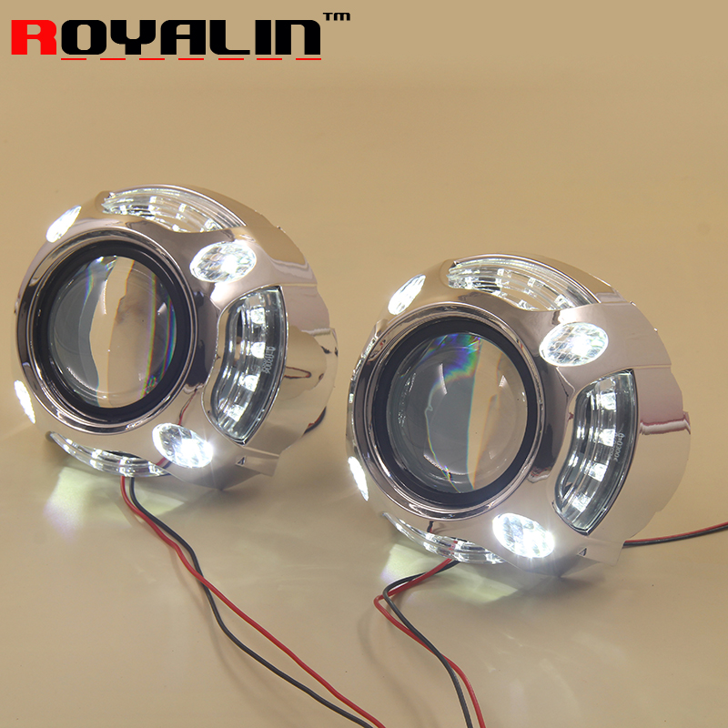 ROYALIN Car Styling 2.5'' Bi-Xenon Mini Projector Lens H1 w/ LED Angel Eyes Daytime Running Lights Lens DRL for H4 H7 Auto Lamps new led daytime running lights drl with halo ring angel eyes for mini cooper rally driving lights front bumper 6000k 1900lm auto