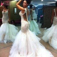 TuTu skirts Mermaid Sexy Wedding Dress Pearls Backless Sweep Train Bridal gowns Arabic Luxury vestido de noiva Z092
