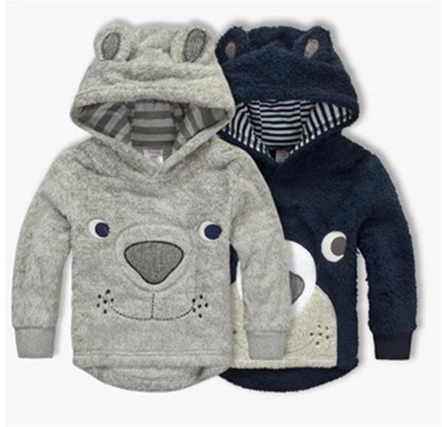 Urso Roupas de Bebê Menino Inverno Engrossar Hoodies Crianças Dos Desenhos Animados Coral do Velo Camisolas Crianças Casacos Quentes Casacos Outerwear Bebê