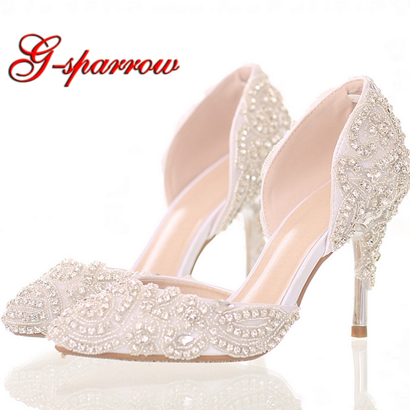2018 Beautiful Rhinestone Wedding Shoes High Heel Pointed Toe Bride Shoes  White Color Dancing Performance Heels Woman Pumps-in Women s Pumps from  Shoes on ... 6eee1e1aea1e