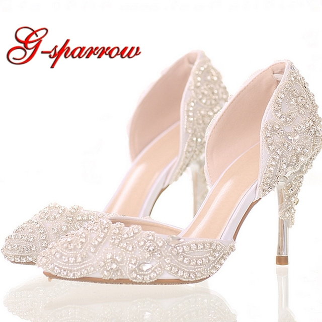 2018 Beautiful Rhinestone Wedding Shoes High Heel Pointed Toe Bride Shoes  White Color Dancing Performance Heels Woman Pumps 4a83e7f7276d