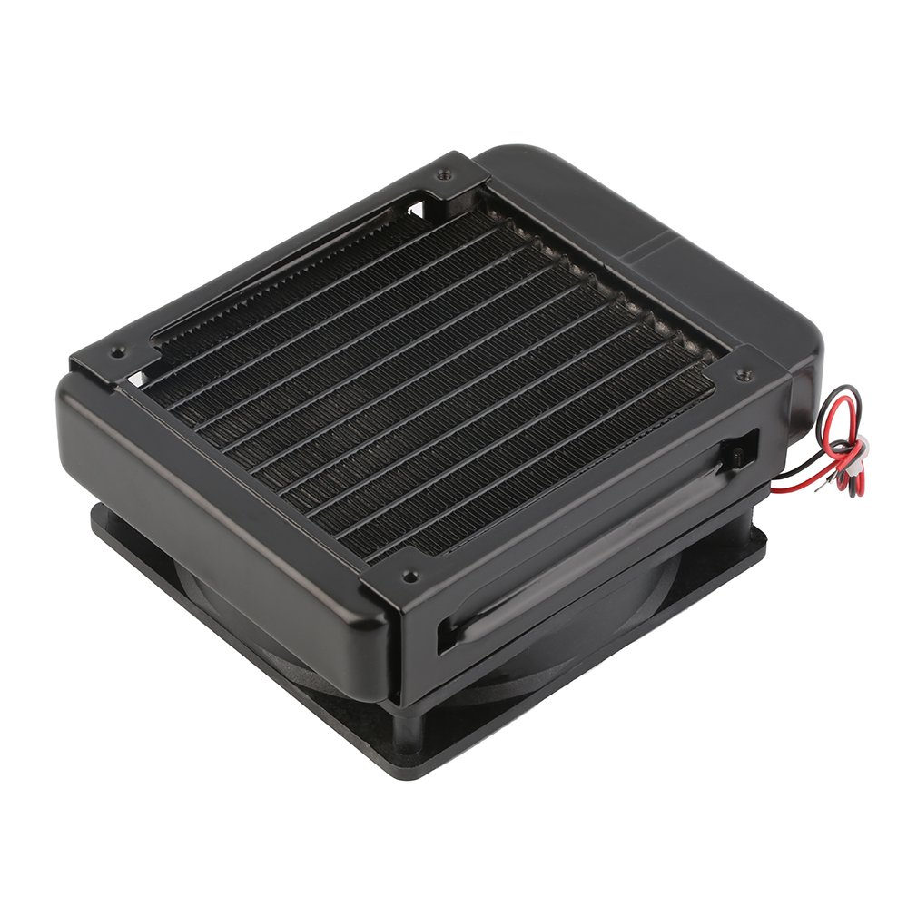 все цены на  Portable Heat Sink 120mm Water Cooling Cpu Cooler Fan Row Heat Exchanger Radiator with Fan for PC Laptop Aluminum Black  онлайн