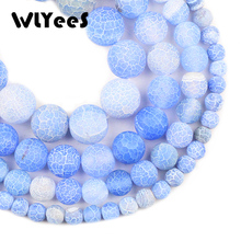 WLYeeS Light Blue Weathered carnelian beads Natural Stone 6 8 10 12mm Round Loose Bead for Jewelry Bracelet Making DIY Accessory