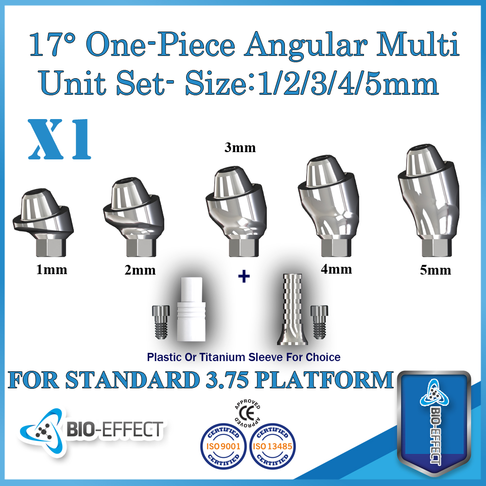 1x Angular 17 Degree One-piece Multi-unit Abutment ,For Internal Hex Dental Implants,Bio-Effect loading of dental implants