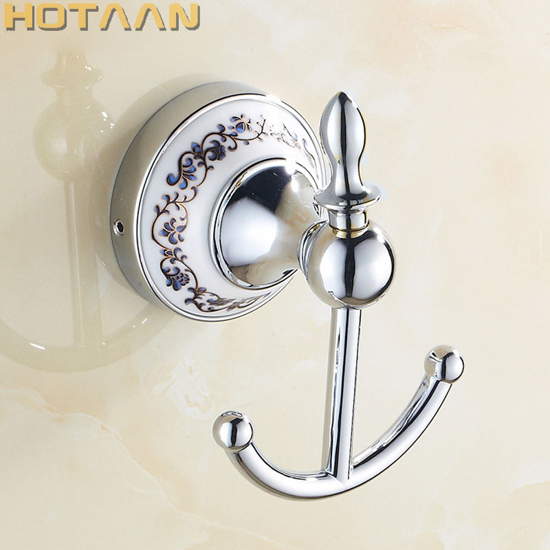 Free Shipping Robe Hook,Clothes Hook, zinc & ceramic Construction with Chrome finish,Bathroom hook Bathroom Accessories YT11802