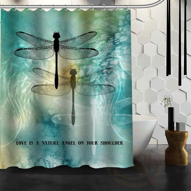 Best Nice Custom Dragonfly Shower Curtain Bath Waterproof Fabric For Bathroom MORE SIZE W