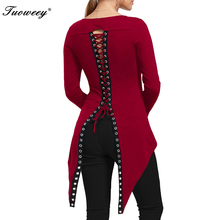 2019 new fashion sexy ladies round neck long sleeve solid women t  back open fork irregular butterfly tail shirt top