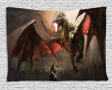 Dragon Decor Medieval Knight Fighting Against the Fearful Dragon Spits Fire Fiction Monster Themed Dorm Wall Hanging Tapestry(China)