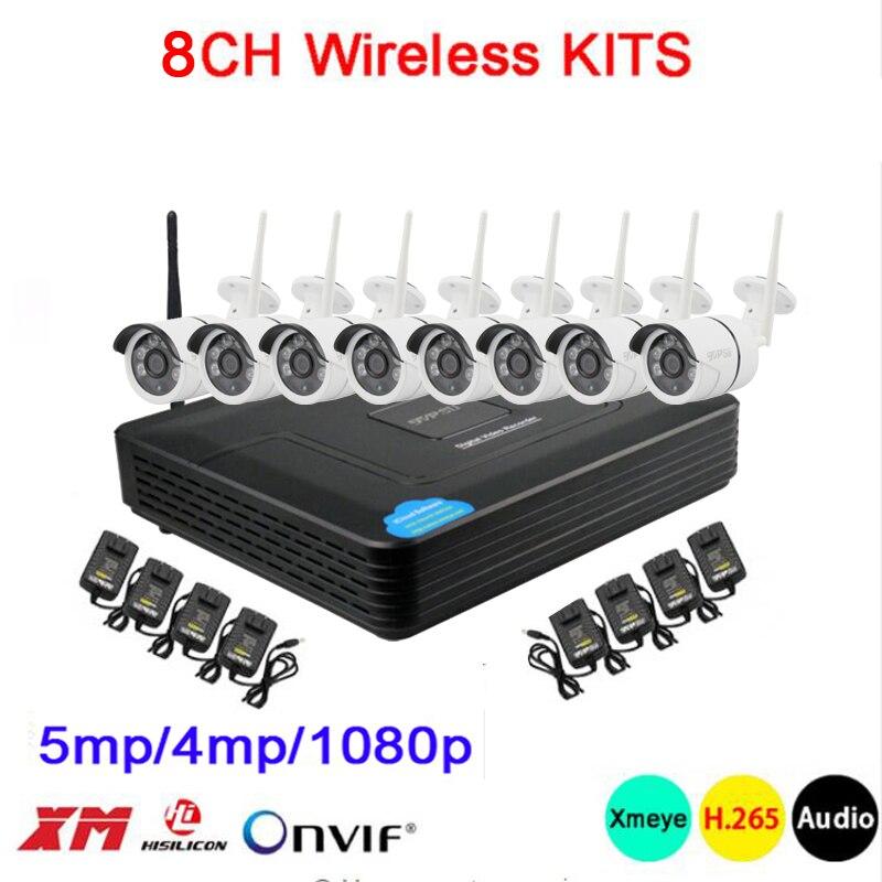 5mp/4mp/1080 p Seis ICsee H.265 APLICATIVO de Áudio À Prova D' Água + 25fps Matriz Infravermelho 8CH 8 Canal WI-FI kits de Câmera IP sem fio Frete Grátis