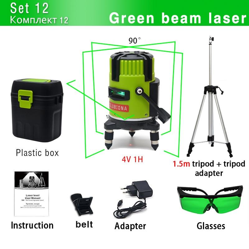 CLUBIONA зеленый и красный луч линии 360 градусов Поворотный наружный режим-приемник и наклон slash доступен автоматический линейный лазерный уровень - Цвет: M05G and Tripod