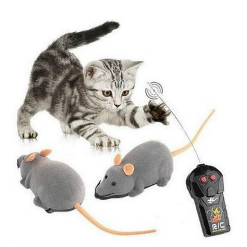2016 Cat Toys Remote Control Wireless Simulation Plush Mouse RC Electronic Rat Mouse Mice Toy For Pet Cat Toy Mouse 3 Colors