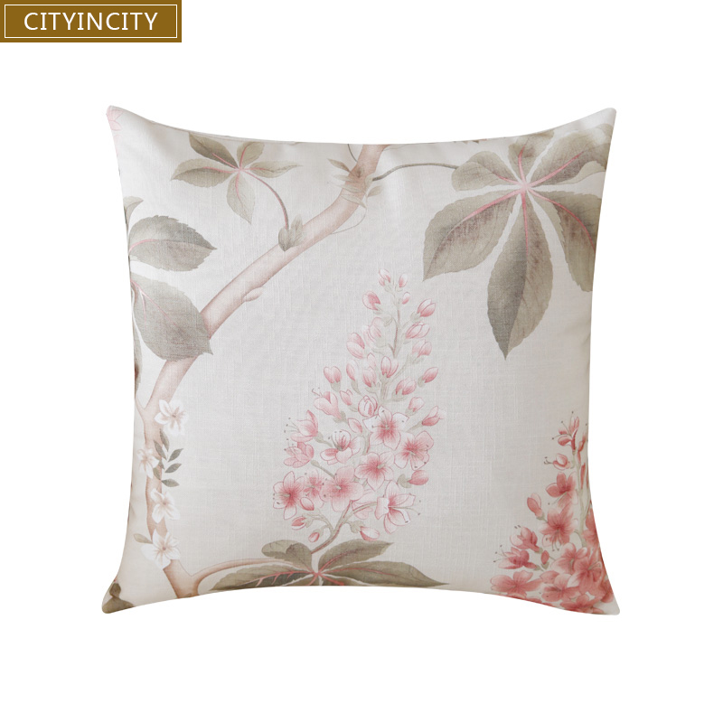 Cityincity Print Cushion Cover Faux Linen Pillow Case Home Decorative For Sofa Bed Car Seat 45x45 50x50 Ready Made