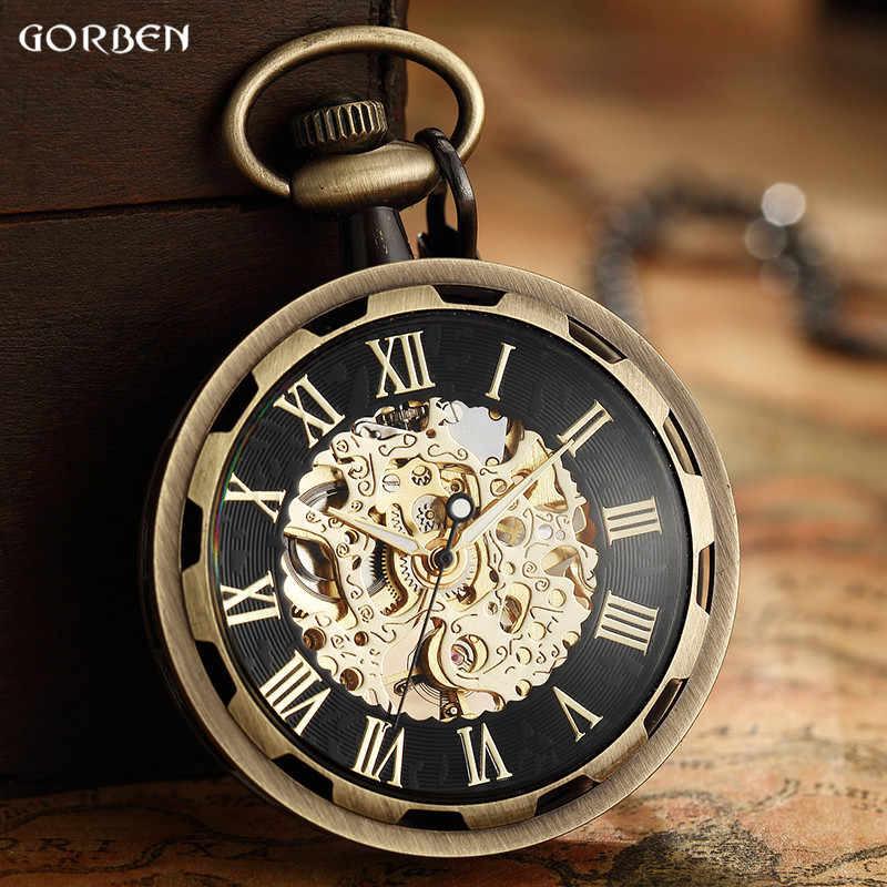 Retro Watch Necklace Steampunk Skeleton Mechanical Fob Pocket Watch Roman Number Clock Pendant Hand-winding Men Women Chain Gift