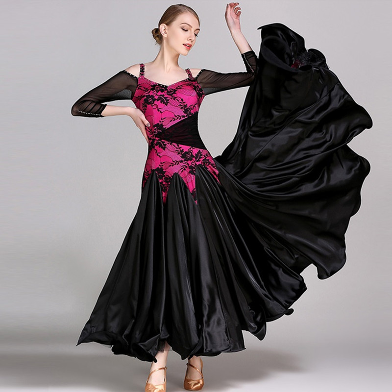 Ballroom Dance Competition Dresses Women Ballroom Dress Waltz Black Long Sleeves Lace Standard Dresses For Ballroom Dancing