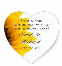 1.5inch Sunflower Thank You Hearts Wedding Favor Stickers