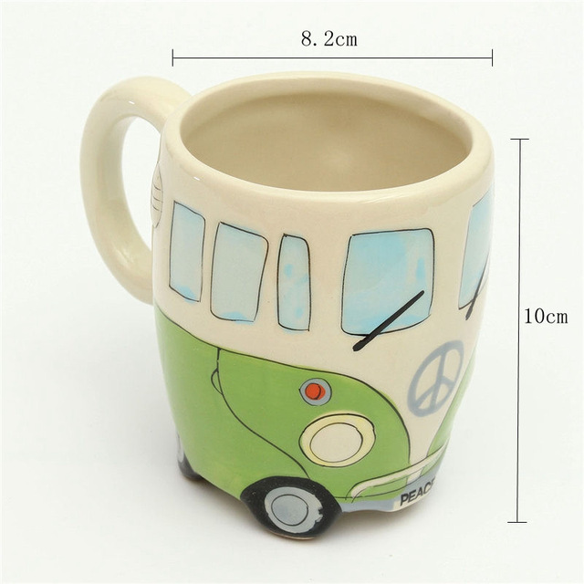400ml Creative Hand Painting Double Bus Mugs Retro Ceramic Cup Coffee Milk Tea Mug Drinkware Novetly Gifts 2