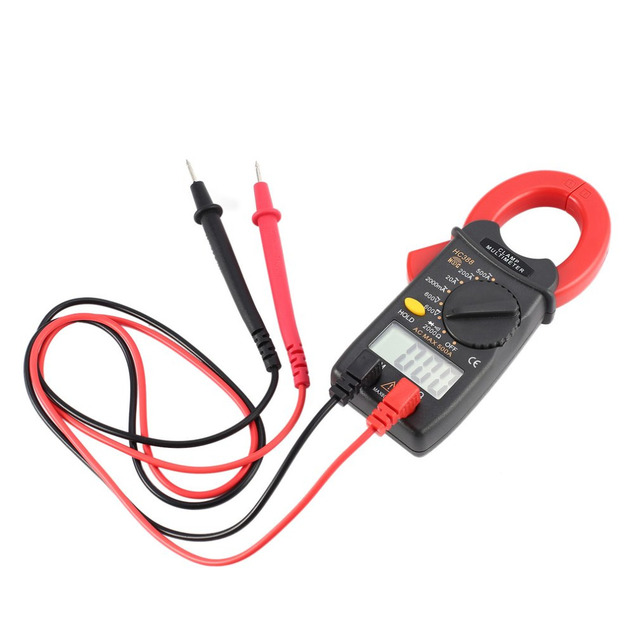 HC388 Mini Digital Clamp Meter Multimeter AC/DC Voltage Current Ohm Diode Tester 1999 Counts Data Hold Handheld