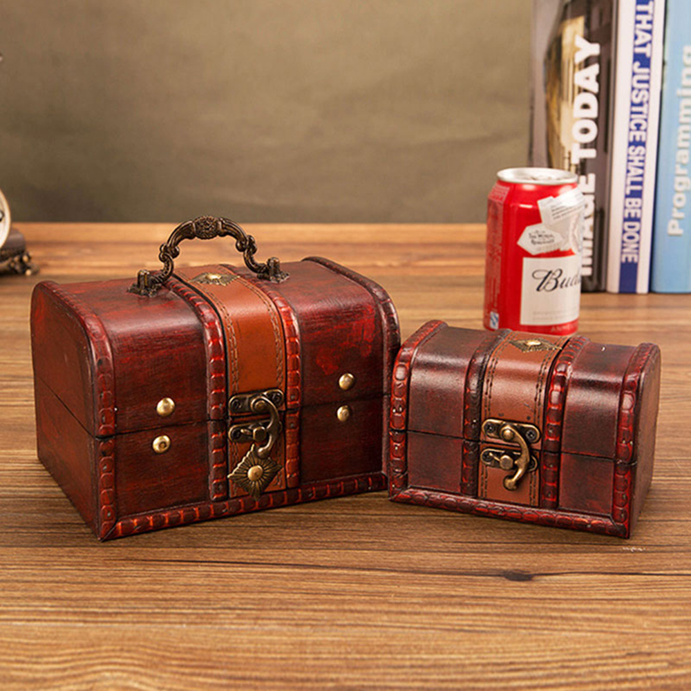 2pcs Antique Vintage Wooden Box Stamp Flower Small Metal Lock Jewelry Treasure Chest Handmade Wood Organizer Case Box