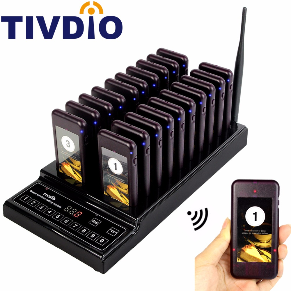 TIVDIO 999 Channel Restaurant Pager Queuing System Waiter Coaster Pagers 20 Call Button Buzzer Quiz Catering Equipment F9402A tivdio 4 watch receivers 30 call pager wireless waiter calling system 999 channel rf for restaurant pager f4413b