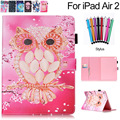 For iPad Air 2 Case Fashion Cute Cartoon Wallet Card Slots Full Body Protective Skin Cover for Apple Air2 6