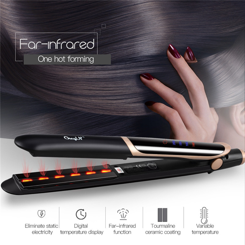 Professional Hair Straightener + Curler / Flat Iron with LED Display. 1