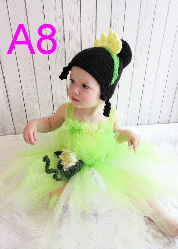 free shipping 10pcs/lot baby Crochet Hat - Princess Tiana Crochet Hat, Princess and the Frog Crochet Hat, Tiana Costume cotton