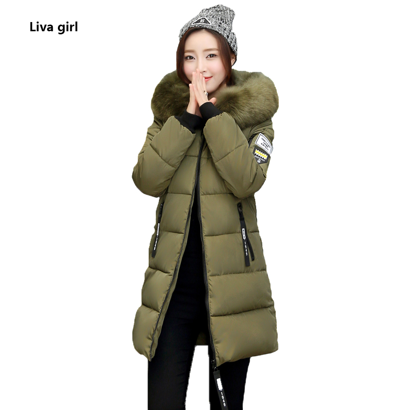 2017 Winter Long jacket For women hooded Thick Warm Coat Casual Full sleeve Zippers cotton Overcoat female Solid down parkas fashionable thick hooded pleated down coat for women