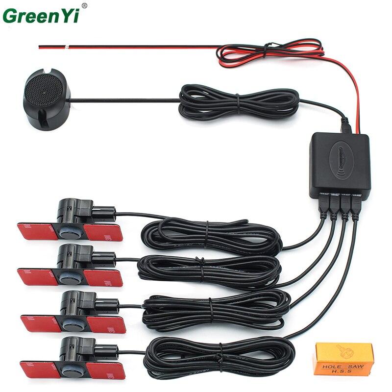 Sensori di Parcheggio auto Parktronics 4 Nero/Argento/Bianco 13mm Piatto Sensori Reverse Backup Radar Suono Buzzer Alarm Suono regolabile