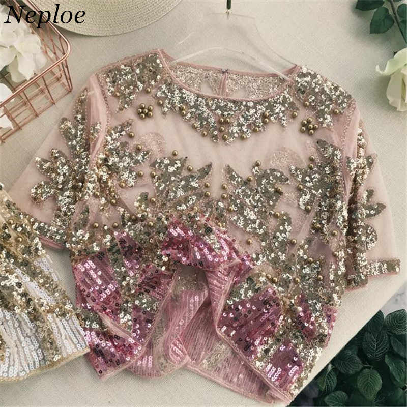 47f109a6fc3732 Neploe 2019 Gauze Sequined Patchwork Women Tops O-Neck Short Sleeve Bling  Beading Blouse New