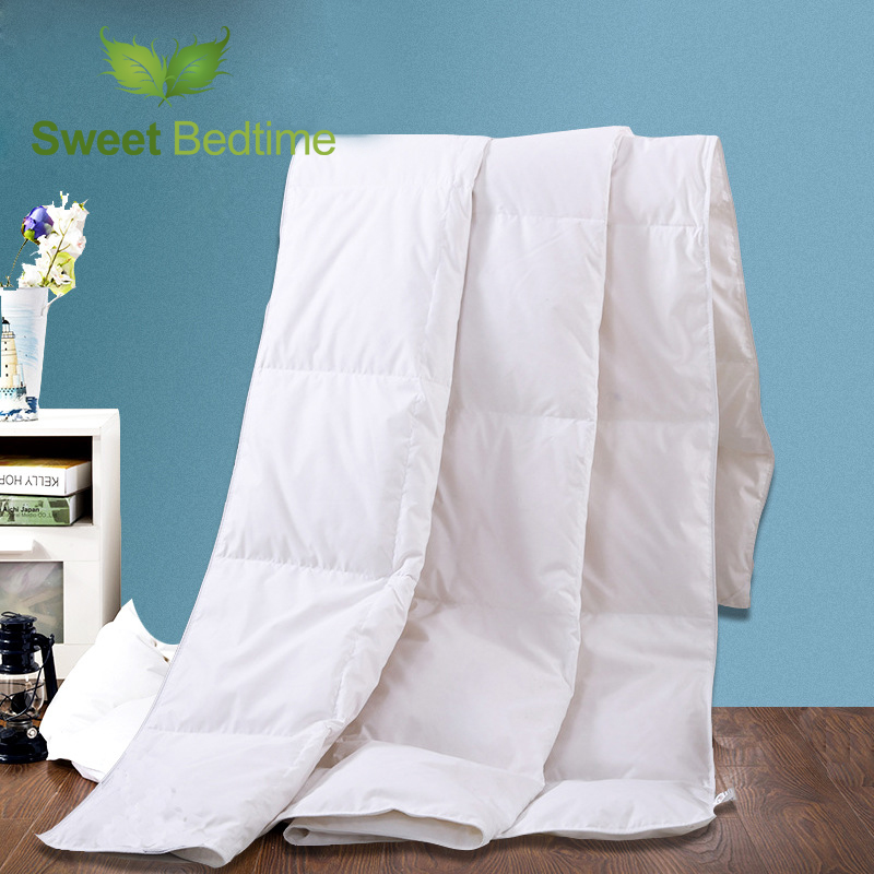 white goose down feather comforter with 400tc satin cotton blanket queen king size