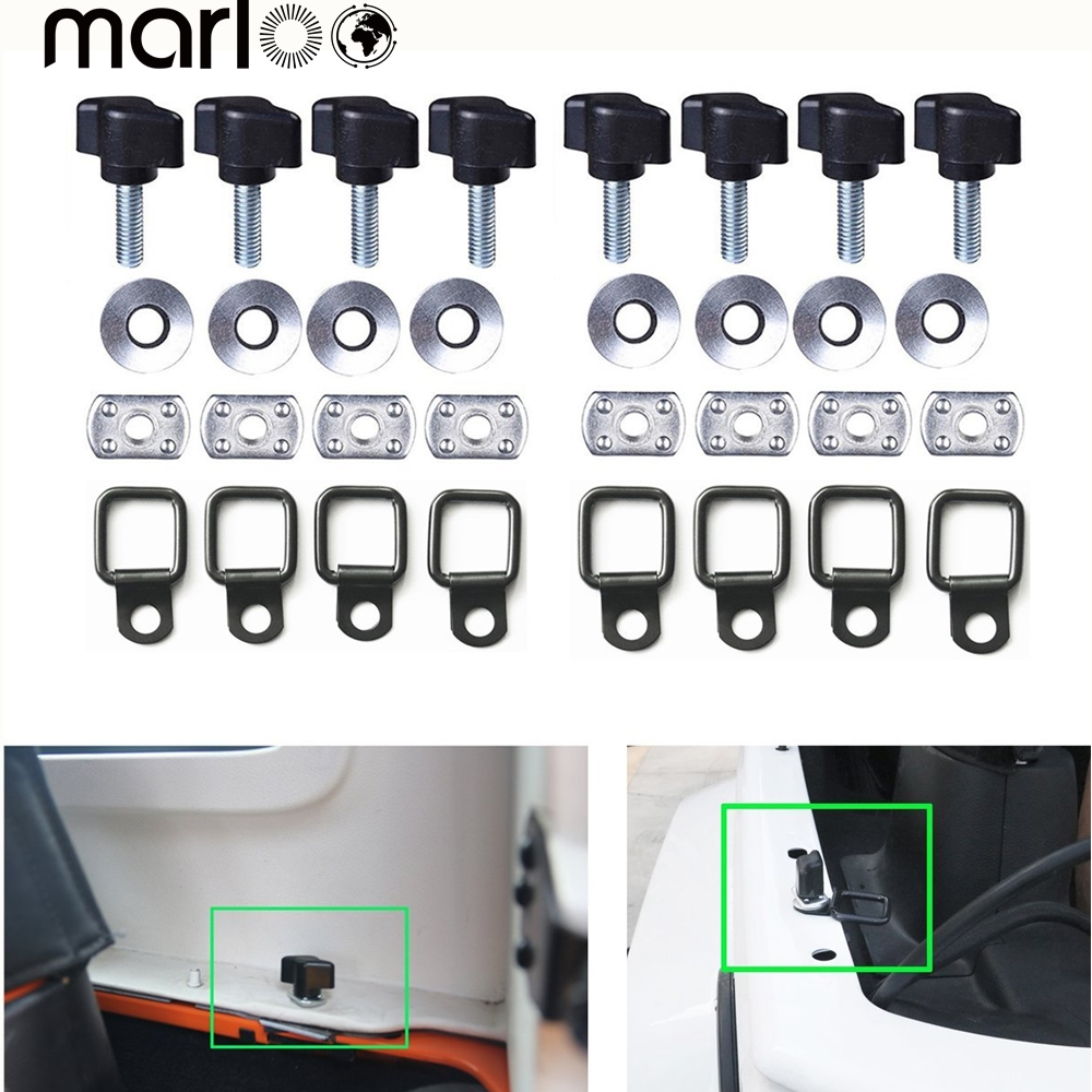 Marloo 8pcsSet Universal Hardtop Quick Removal Thumb Screw + Nut + Washer + Tie-down D-rings For Jeep Wrangler JK YJ TJ JKU