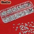 BlueZoo Claro 2mm 3mm 4mm Tamanho Mix de Strass Arte Do Prego Prego rodada Glitter DIY Beleza Do Prego Acessórios de Decoração de Unhas Com caso