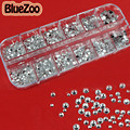 BlueZoo Clear 2mm 3mm 4mm Mix Size Nail Art Rhinestones Round Nail Glitter DIY Beauty Nail Decoration Accessories Nail With Case