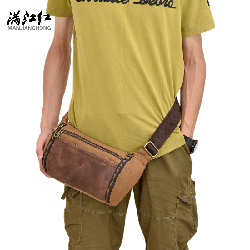 ФОТО New Canvas Unisex Single Shoulder Bags Patchwork Zipper Vintage Crossbody Bag Casual Waist Bag Men Travel Handbags