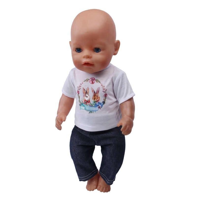 5 พิมพ์สีขาวและสีขาวเสื้อยืดเสื้อผ้า fit 43 เซนติเมตรตุ๊กตา Annabell, เด็กที่ดีที่สุดของขวัญ f548