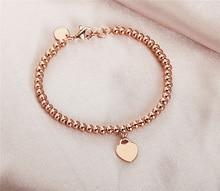 Conciso grano de la joyería de oro rosa pulsera para mujeres regalos PT020