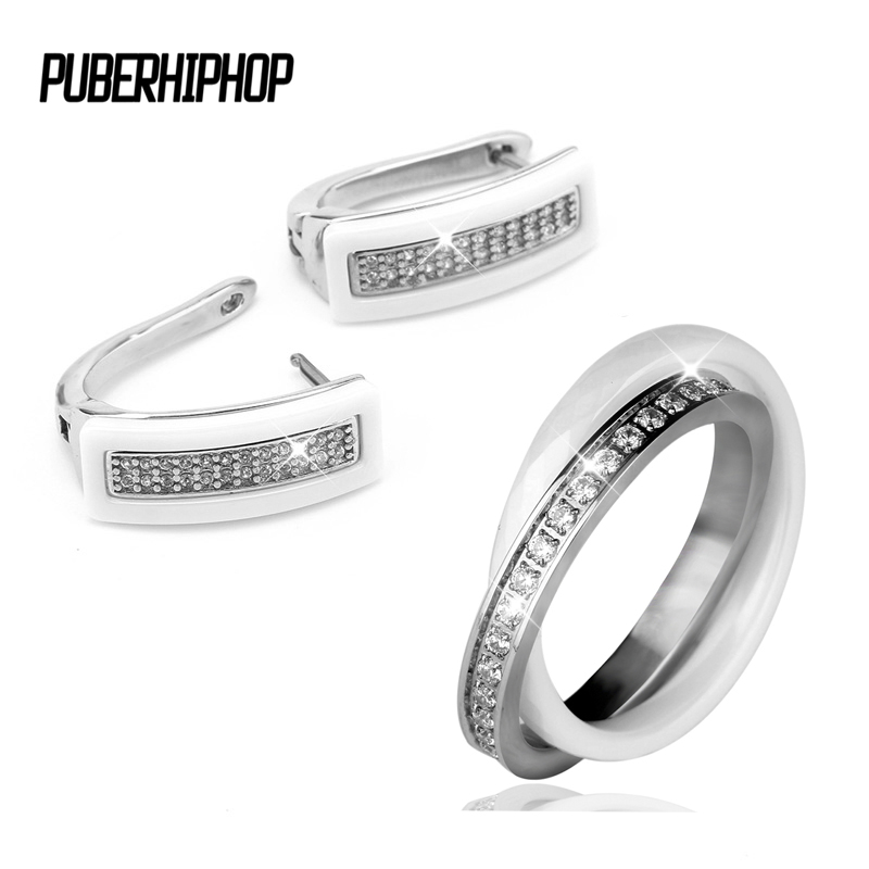 2017 Elegant Style Ceramic Rings & U Shape Stud Earrings Set Women Wholesale Shinning CZ Crystal African Jewelry Sets For Women 2017 african wholesale round silver plated rhinestone with square shape earrings jewellery sets for women