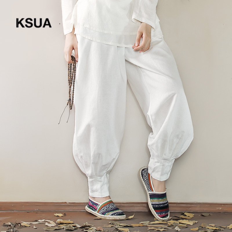 KSUA Linen Large Size Loose Yoga Sport Athletic Fitness Trousers For Women Women's Yoga Pants Ropa Deportiva Mujer Gym Trousers