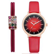 New Arrival Women Fashion Watch Soft Casual  PU Leather Ladies Watches Elegant Quartz Wristwatch gift with Rhinestone Bracelet