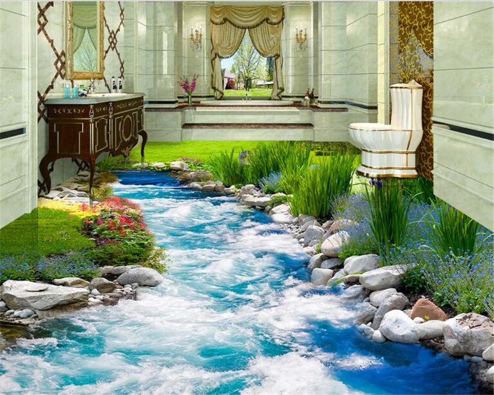 beibehang Fashion advanced wallpaper grass flowing water 3D floor tiles three-dimensional paintings 3d flooring papel de paredebeibehang Fashion advanced wallpaper grass flowing water 3D floor tiles three-dimensional paintings 3d flooring papel de parede